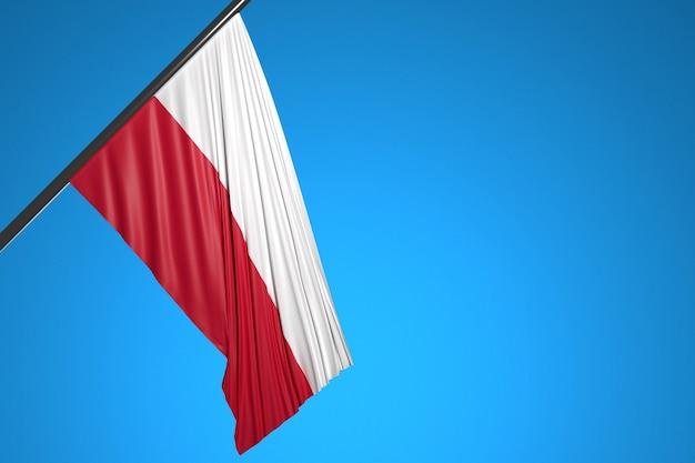青い空に羽ばたく金属の旗竿にポーランドの国旗のイラスト