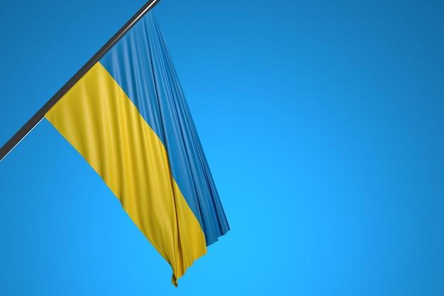 Иллюстрация государственного флага украины на металлическом флагштоке на фоне голубого неба