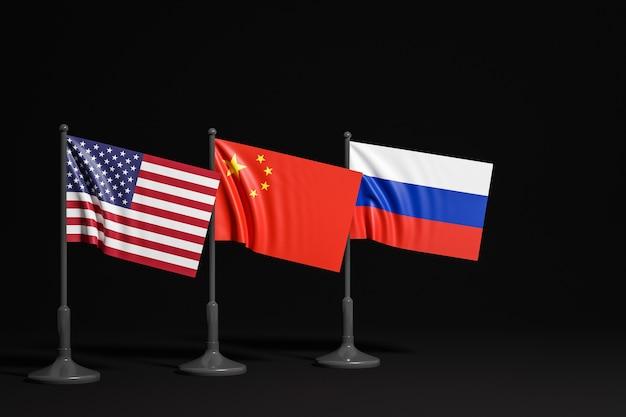 Иллюстрация национальных флагов сша, россии и китая на металлическом флагштоке