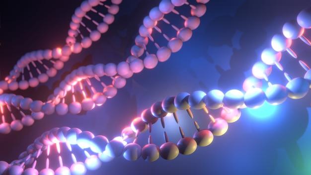 Иллюстрация науки о молекулах днк. крупный план концепции человеческого генома.
