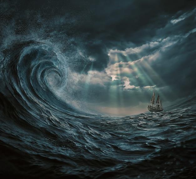 폭풍, 거대한 파도에 배의 그림