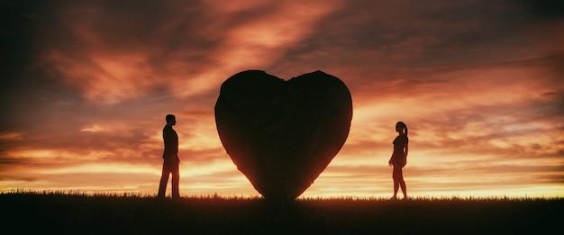 Иллюстрация каменного сердца с двумя влюбленными людьми на фоне красивого закатного неба, 3d-рендеринг