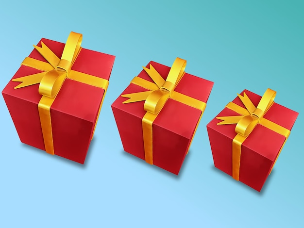 水色のグラデーションで分離された3つの赤いクリスマスプレゼントボックスのイラスト