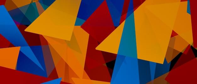 三角形と角度の付いた形のイラスト幾何学的な要素のパノラマ画像とカラフルな抽象的な背景