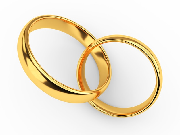 두 개의 연결 된 골드 결혼 반지의 그림 흰색 절연