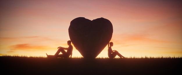 Иллюстрация двух влюбленных людей на фоне красивого закатного неба. концепция любви, 3d визуализация