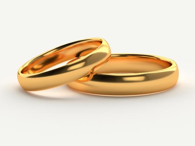두 결혼 골드 반지의 그림은 흰색에 고립 서로 거짓말