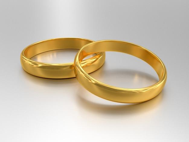 두 결혼 금 반지의 그림은 서로 거짓말