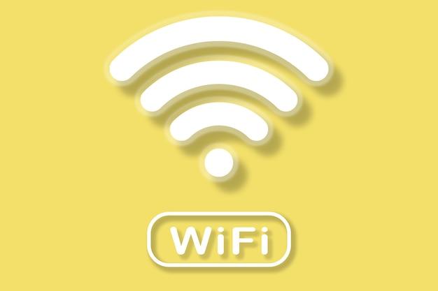 노란색 배경에 wi-fi 기호 그림