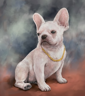 Illustration painting of a dog