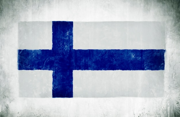 Illustration and painting of the national flag of finland