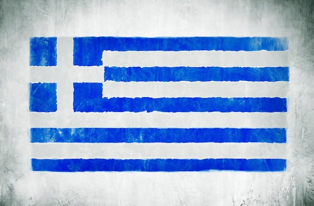 Illustration and painting of the national flag of greece