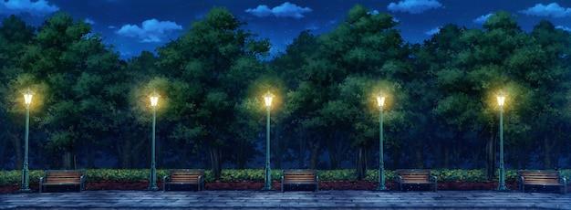 Иллюстрация парк ночью.