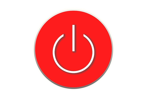 Illustration of power button in red color on white background.
