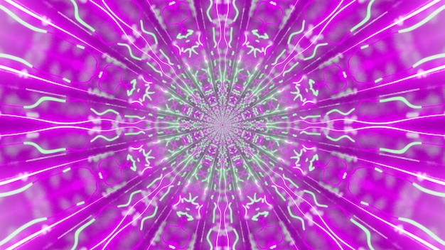 Illustration of psychedelic ornament glowing with bright pink and green neon lights and forming tunnel