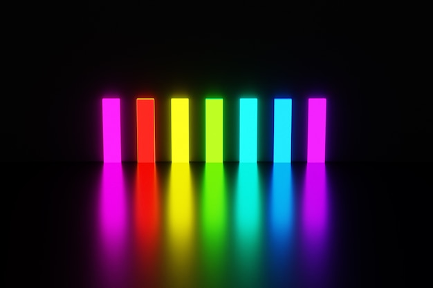 Illustration rectangles of rainbow colors glow with bright light and reflect off the floor on black isolated background.