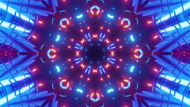 Illustration of red and blue neon lights illuminating symmetric tunnel with abstract ornament
