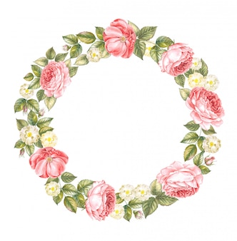 Illustration of red rose wreath isolated over white.