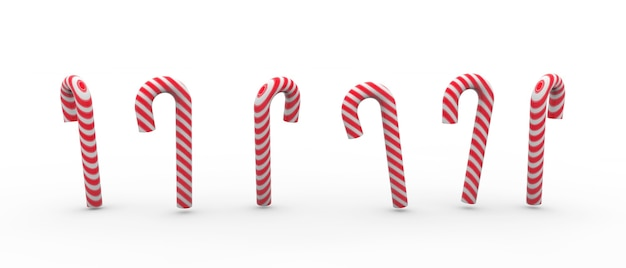 Illustration of red and white candy canes isolated on white