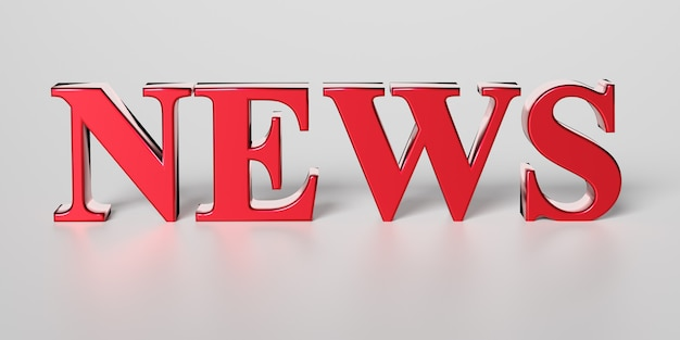 Illustration of red word news on grey