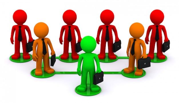 Иллюстрация, представляющая сеть связанных бизнесменов