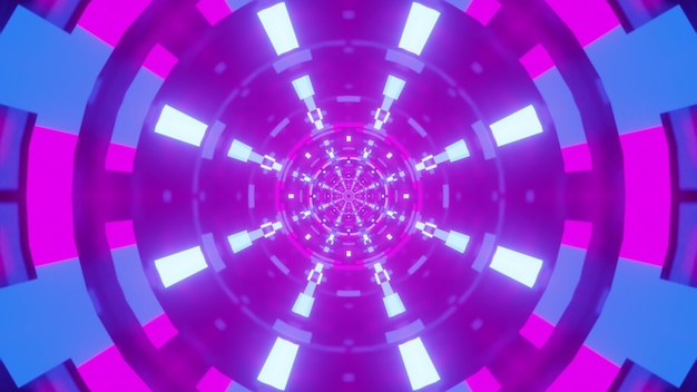 Illustration of round symmetric purple tunnel with glowing neon blue lamps