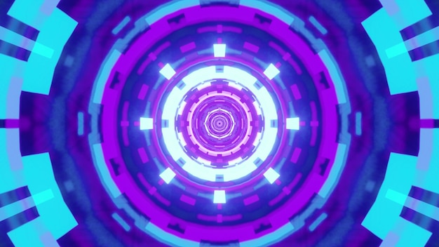 Illustration of round symmetric tunnel with abstract geometric ornament glowing with blue and violet light