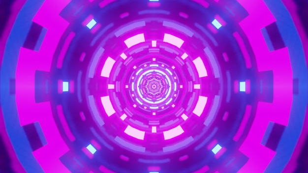Illustration of round symmetric tunnel with abstract geometric ornament shimmering with vibrant purple neon light