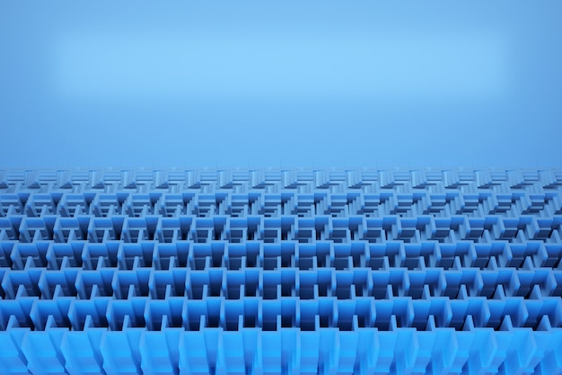 Illustration of rows of blue  cubes and stripes parallelogram pattern