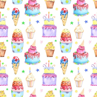 Illustration seamless pattern drawn by watercolor confectionery cakes muffins macaroons on the