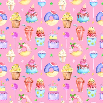 Illustration seamless pattern drawn by watercolor confectionery