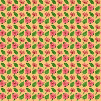 Illustration of a seamless pattern of hibiscus plants flowers and leaves of a plant on a background