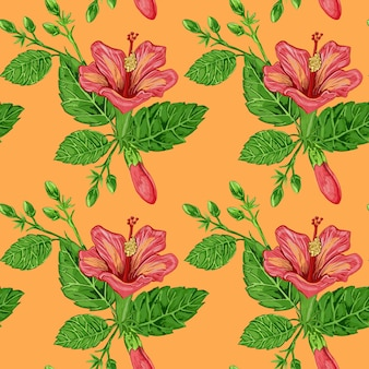 Illustration of a seamless pattern of hibiscus plants flowers and leaves of a plant on a background Premium Photo