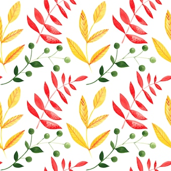 Illustration of seamless pattern of watercolor branches with leave
