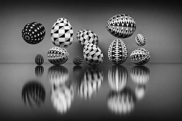 Illustration of a set of easter eggs with geometric over the reflective surface. digitally generated image in black and white colors. 3d illustration.