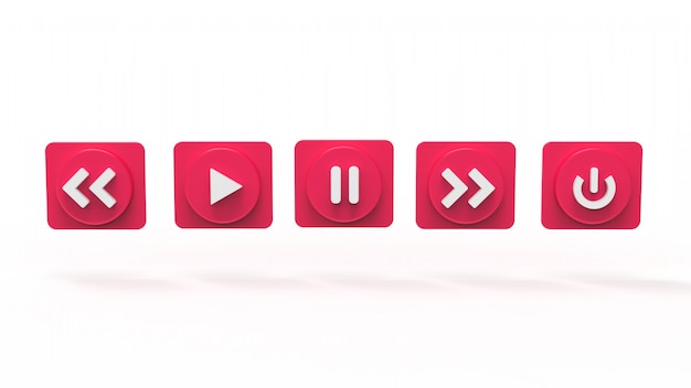 Illustration set of music button s concept social media 3d rendered