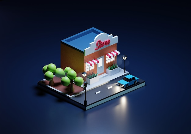 Illustration of a shop at night in isometric style
