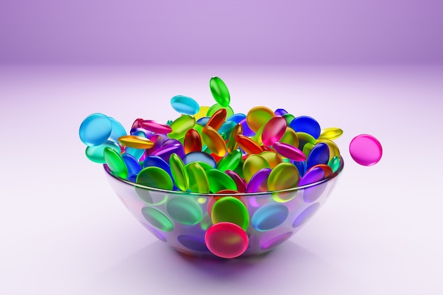 Illustration of small glass plates with colorful chewing gums on pink background