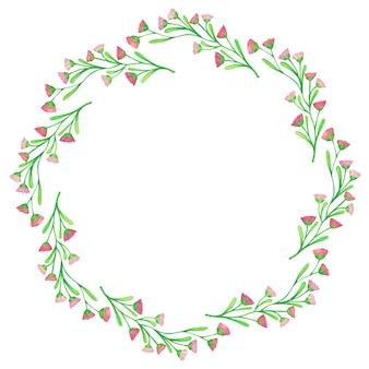イラスト春の花クリップアート-水彩花輪の花
