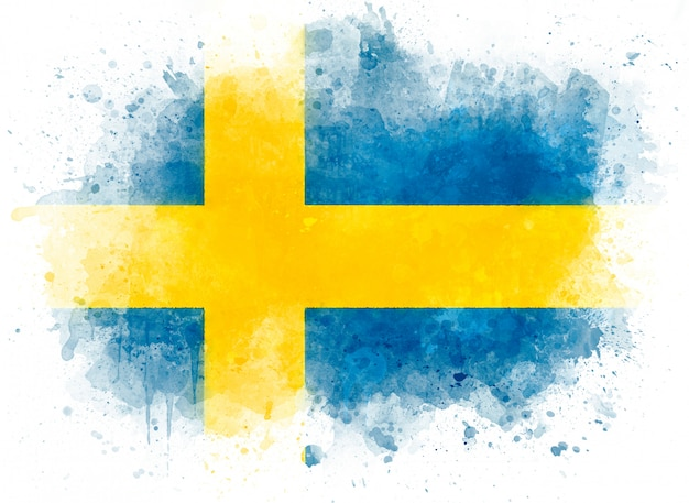 Illustration of sweden flag, watercolor flag on white paper