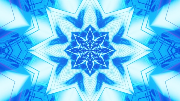Illustration of symmetric abstract ornament glowing with vivid blue neon light