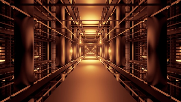 Illustration of symmetric futuristic passage illuminated with golden neon lights