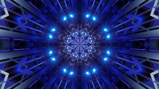 Illustration of symmetric geometric tunnel with abstract ornament illuminated with vibrant blue lights
