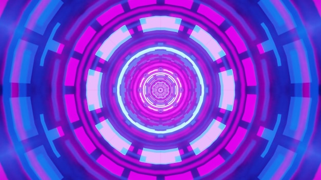 Illustration of symmetric round tunnel with shimmering neon geometric ornament
