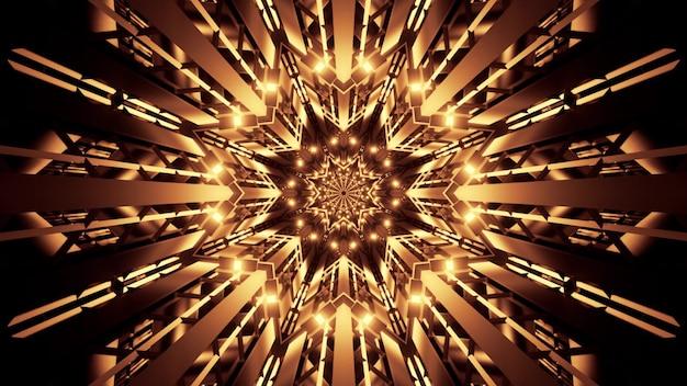 Illustration of symmetric star shaped crystal tunnel illuminated with vivid golden lights