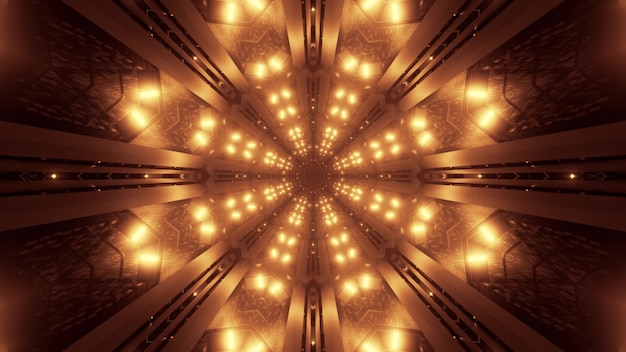 Illustration of symmetric star shaped ornament formed with shimmering bright golden neon lights