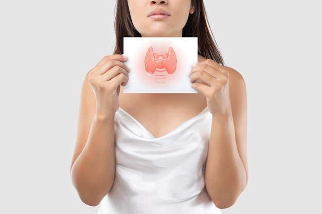 Illustration of the thyroid in the white paper is on the woman's neck.
