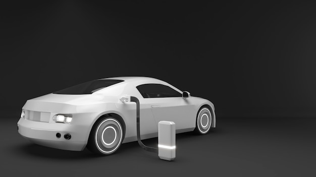 Illustration of the use of electric cars in the futureev cars are electricev charging technology