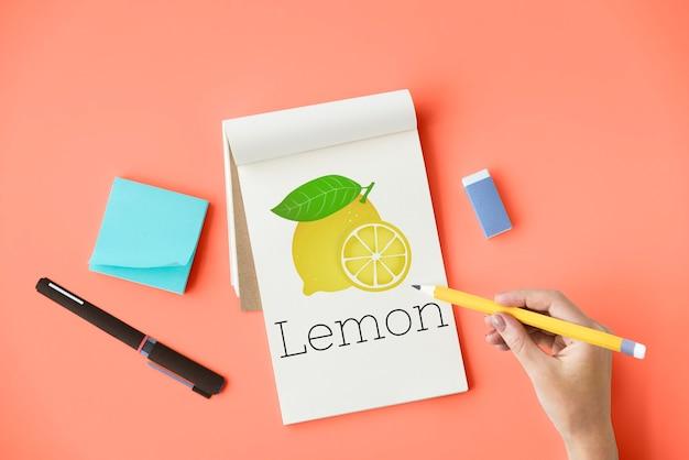 Illustrazione di vitamina nutriente al limone cibo sano