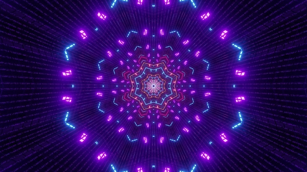 Illustration of vivid colorful neon lights glowing and forming abstract ornament inside futuristic tunnel